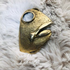 Vintage Fish Head Belt Buckle Brass